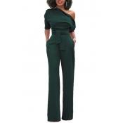Elegante One-Shoulder Army poliestere verde un pezzo Jumpsuits (con cintura)