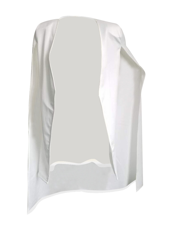 Trendy Long Sleeves Cloak Design White Healthy Fabric Coat
