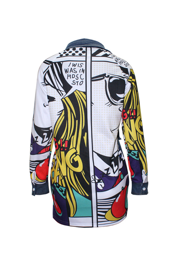 Trendy Turndown Collar Long Sleeves Printed Patchwork Blue Denim Coat