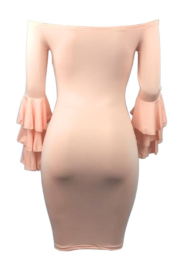 Elegante Ombro Ombro Mangas Compridas Falbala Design Rosa Poliéster Bainha Na Altura Do Joelho Vestido