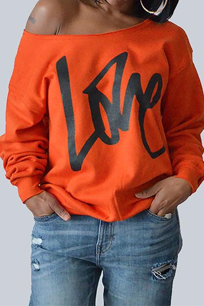 Досуг Круглые шеи с длинными рукавами Письма Печать Оранжевый хлопок Пуловер