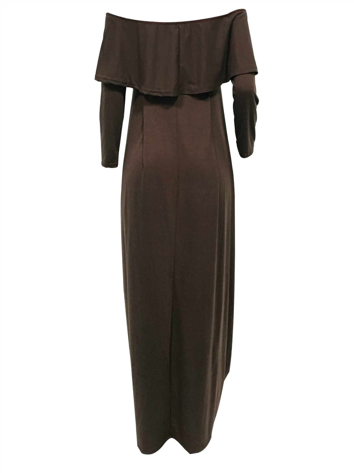 Mode Tau Schulter Falbala Design Grau-grün Baumwolle Blend Knöchel Länge Kleid