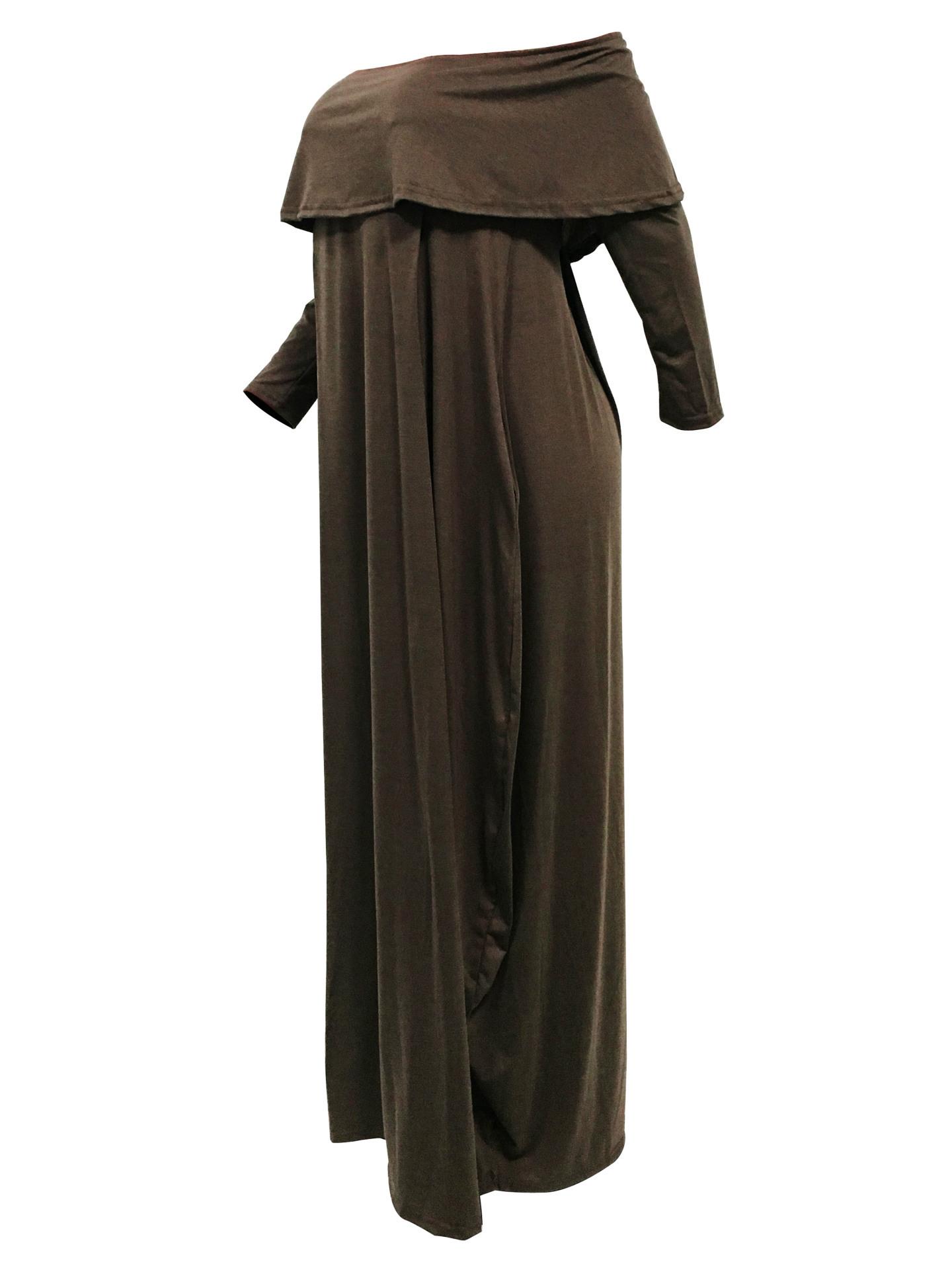 Mode Tau Schulter Falbala Design Grau-grün Baumwollmischung Knöchellängenkleid