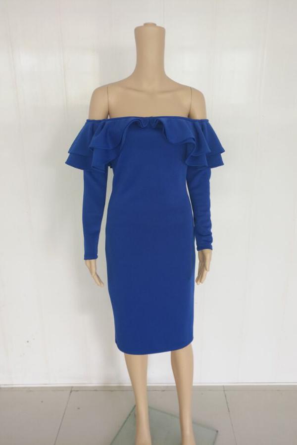 Sexy Falbala Design Royalblue Polyester Sheath Mid Calf Dress
