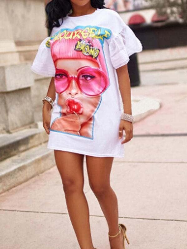 Euramerican cuello redondo impreso mini vestido de poliéster blanco