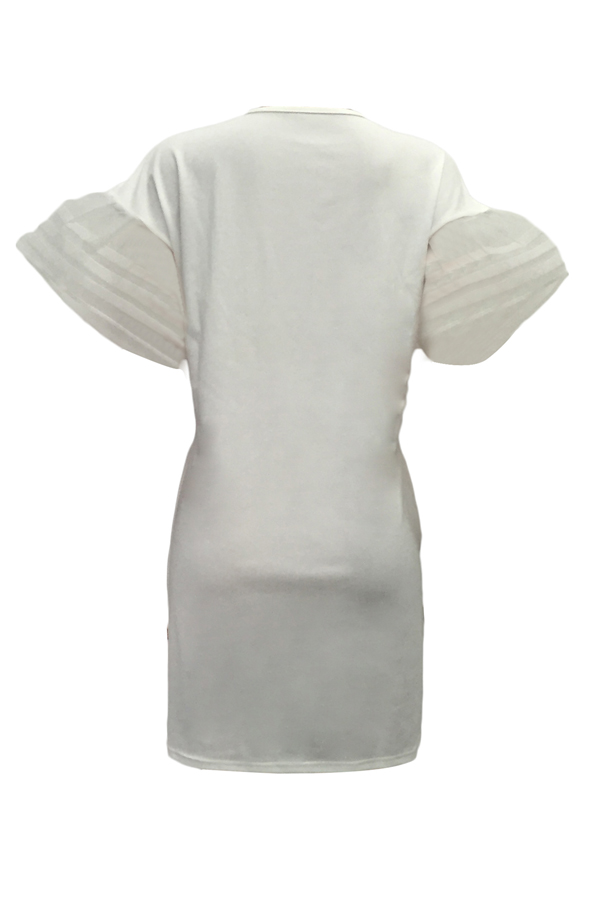 Euramerican Round Neck Imprimé Blanc Polyester Mini-robe
