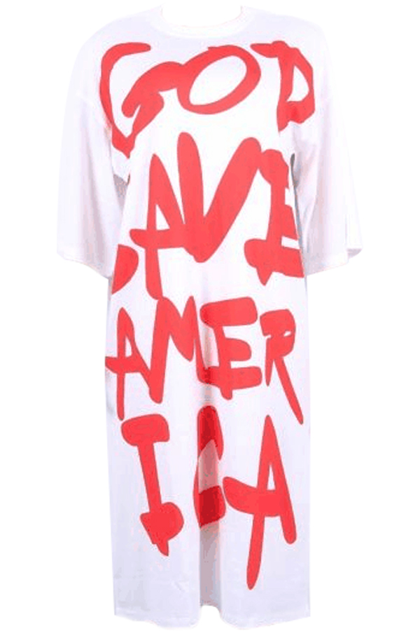 Leisure Round Neck Manches courtes Letters Printing White Polyester Robe Longueur au genou