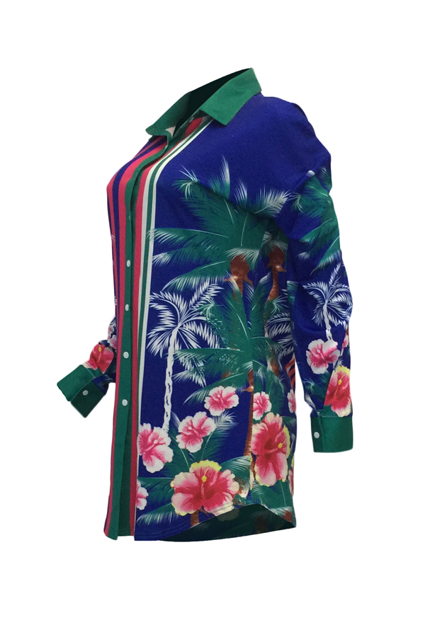 Euramerican Turndown Collar Floral Print Blue Polyester Mini Dress(Without Belt)