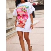 Euramerican Round Neck Printed White Polyester Mini Dress