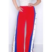 Fashion High Waist Buttons Design Red+Blue Polyest
