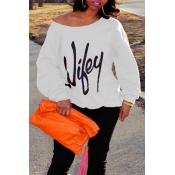 Lettere trendy della spalla di rugiada stampate cotone bianco miscele Pullover