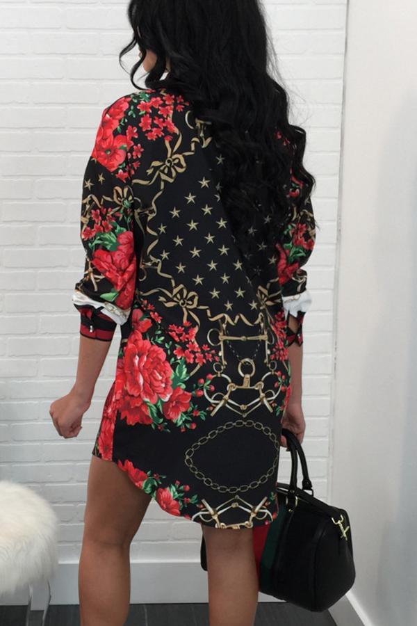 Trendiger Umlegekragen Bedrucktes Patchwork-Polyester-Etui-Minikleid