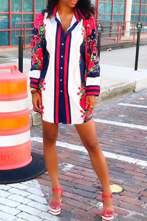 Trendy Turndown Collar Printed Patchwork Polyester Sheath Mini Dress