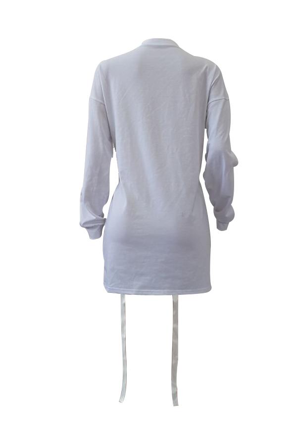 Vestido redondo de manga larga con cuello redondo y manga larga de poliéster blanco