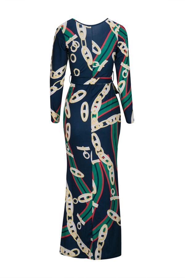 Trendy Rundhalsausschnitt Kette Gedruckt Gesundes Gewebe Knöchellangen Kleid