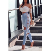 Sexy Hollow-out Skinny Denim Pants