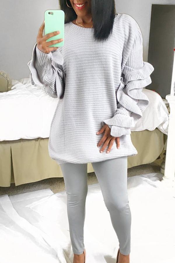 Stylish Long Sleeves Falbala Design Grey Cotton Sweaters