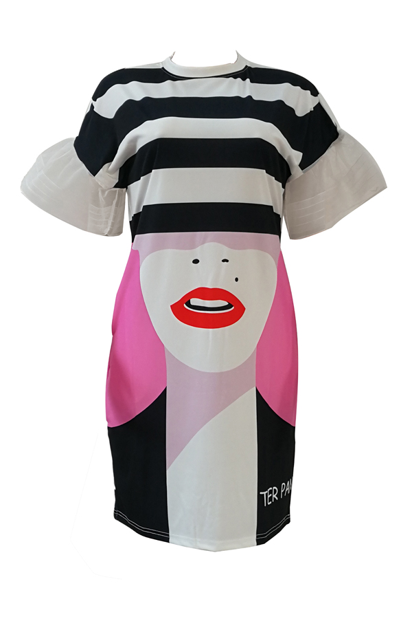 Elegante cuello redondo impreso blanco vestido de poliéster longitud de la rodilla