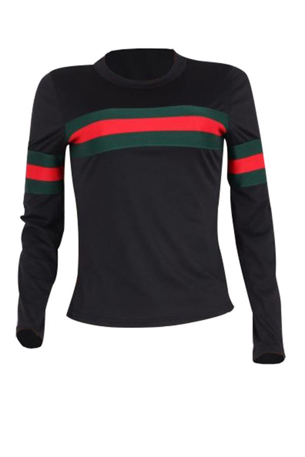 Freizeit Rundhals gestreift Patchwork schwarz Baumwolle T-Shirt