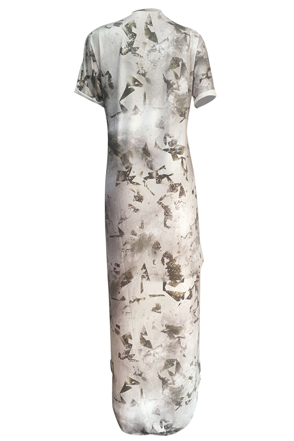 Trendy Printed Asymmetrical Milk Fiber Ankle Length Dress