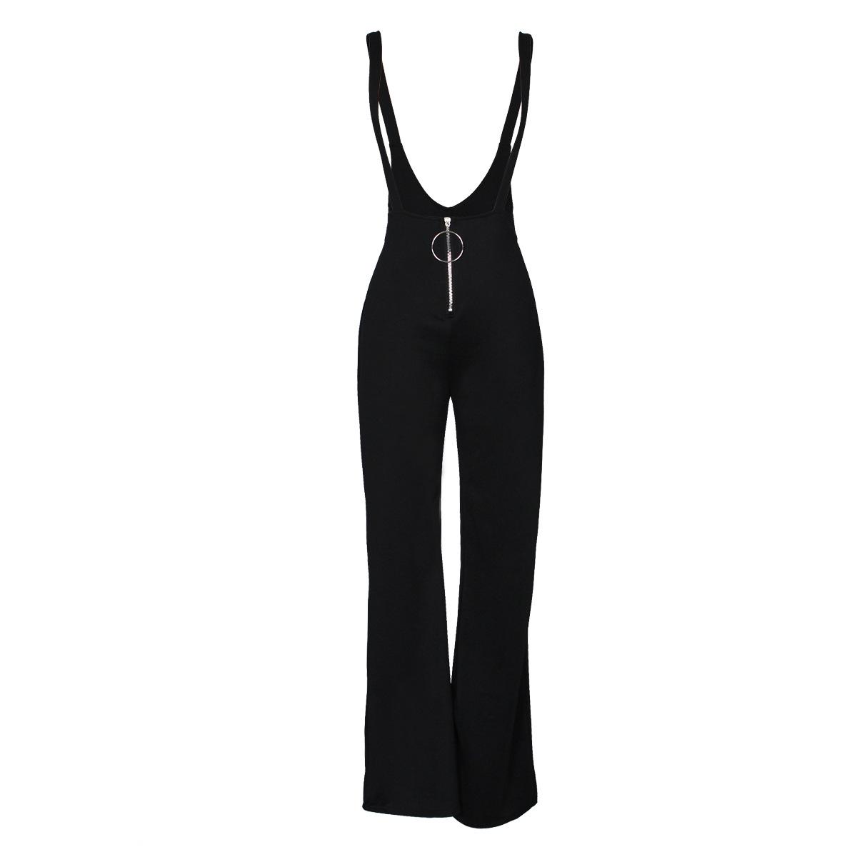 Sexy High Waist Zipper Design Black Polyester Suspender Pants