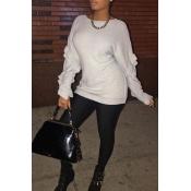 Stylish Long Sleeves Falbala Design Grey Cotton Sw