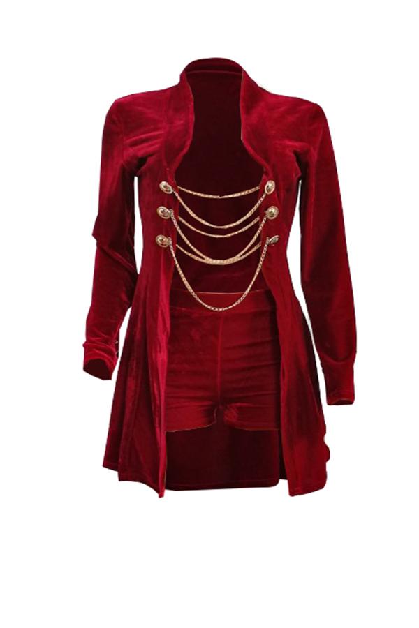 Sexy Cuello De Cisne Cadenas Decoración Terciopelo Rojo De Dos Piezas Conjunto Corto