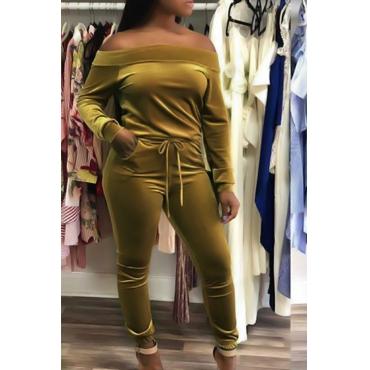 Sexy Bateau Cuello Con Cordón Amarillo Terciopelo Pantalones De Dos Piezas Conjunto