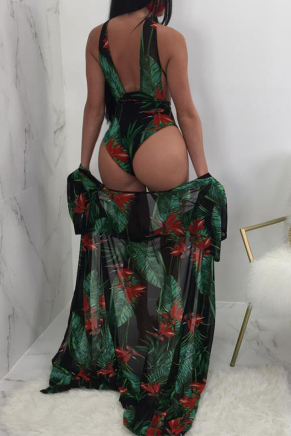 Lovely Sexy Lace-up Printing Green Polyester+Spandex One-piece Swimwears(With Cover-up)
