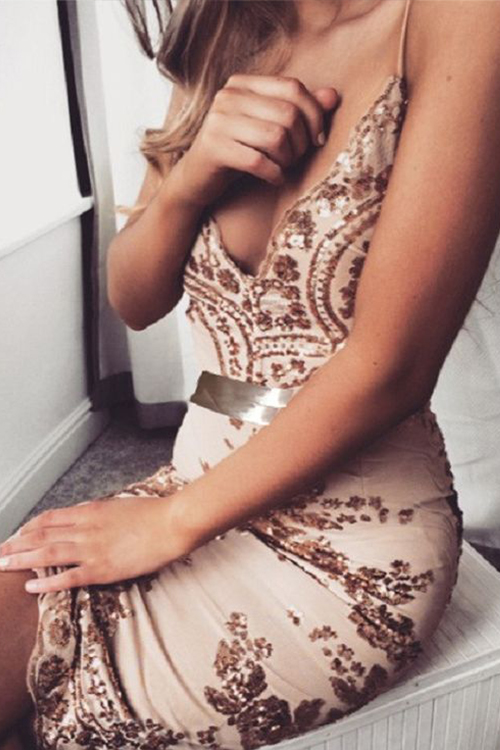 Lovely Party Sequined Backless Mini Dress