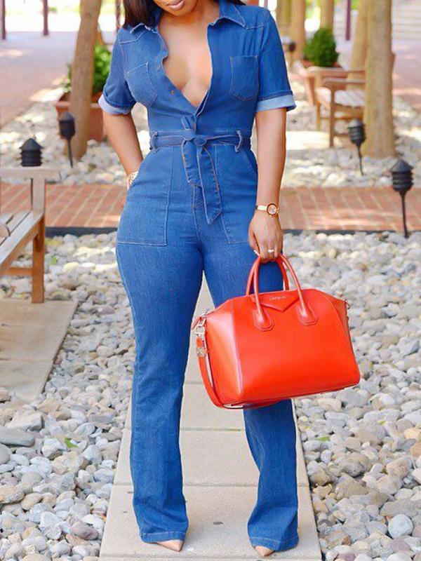 Stylish V Neck Lace-up Blue Denim One-piece Jumpsuits