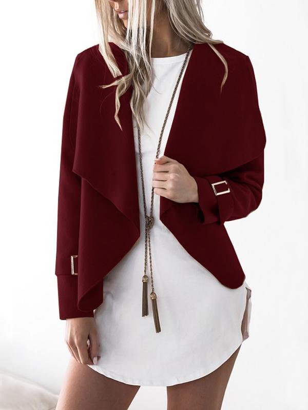 Lovely Polyester Turndown Collar Long Sleeve Regular Coat&Jacket, Wine red