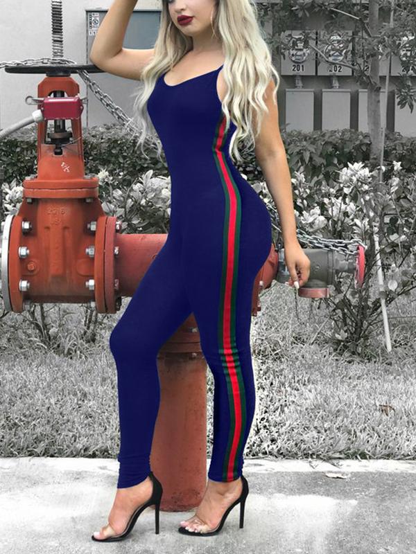 Leisure V Neck Patchwork Blue Cotton Blends One-piece Skinny Jumpsuits
