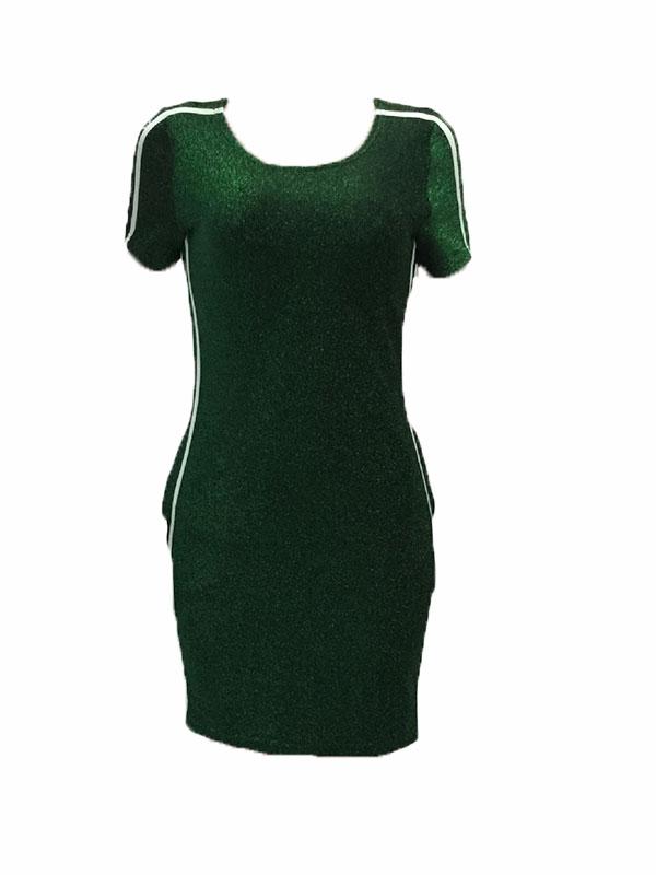 Ocio cuello redondo cuello verde vestido de poliéster mini vestido