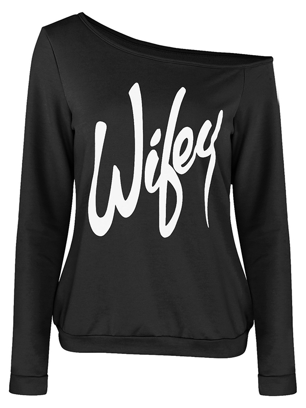 Trendy Dew Shoulder Letters Printed Black Cotton Blends Pullovers