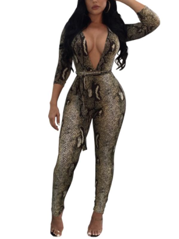 Sexy Deep V Neck Snakeskin Printing Polyester One-piece Jumpsuits
