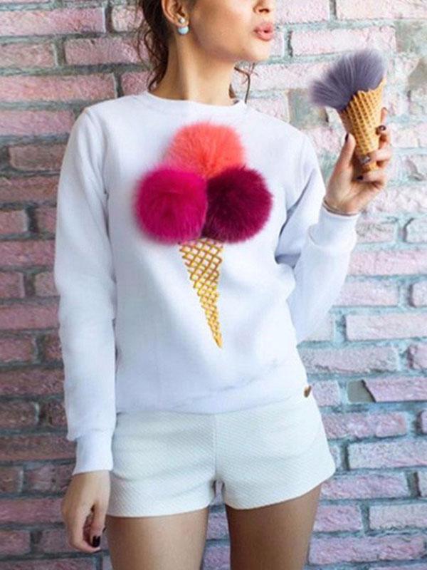 Leisure Round Neck Maomao Ball Decorative White Cotton Blends Pullovers