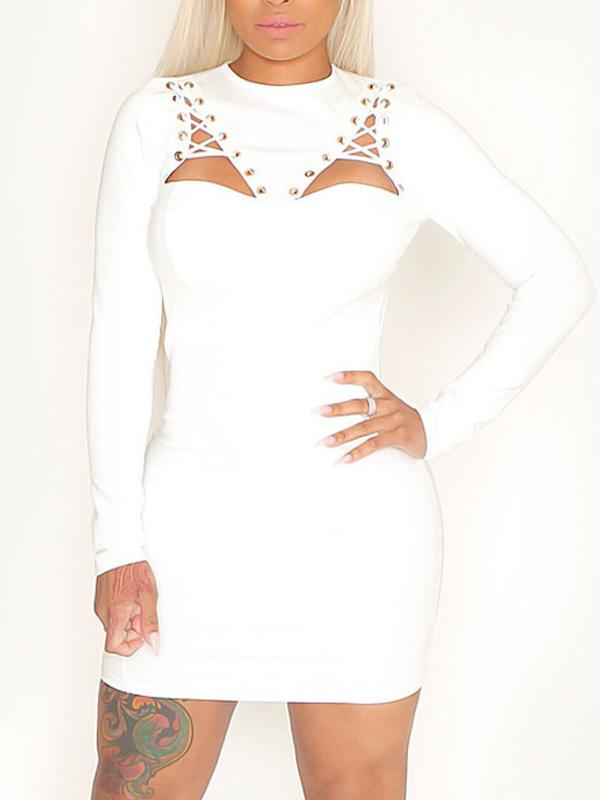 Sexy Round Neck Backless White Healthy Fabric Sheath Mini Dress