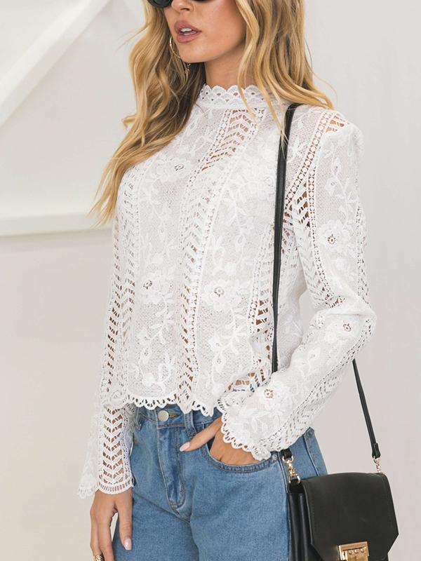 Stylish Round Neck Hollow-out White Bud Silk Shirts