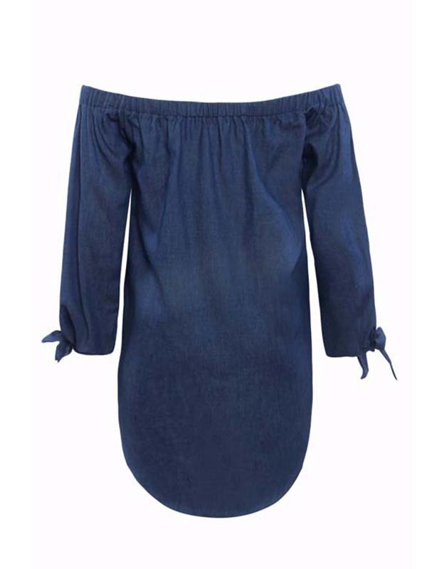 Trendy Dew Shoulder Button Decorative Dark Blue Denim Mini Dress