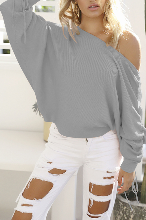 Trendy Dew Shoulder Long Sleeves Grey Cotton Pullovers