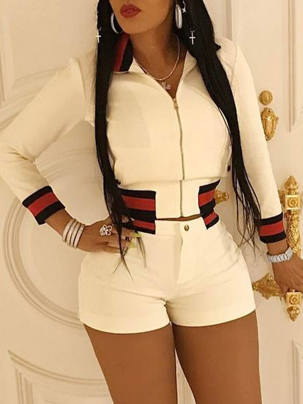 Trendy Turndown Collar Long Sleeves Zipper Design White Polyester Two-piece Shorts Set<br>