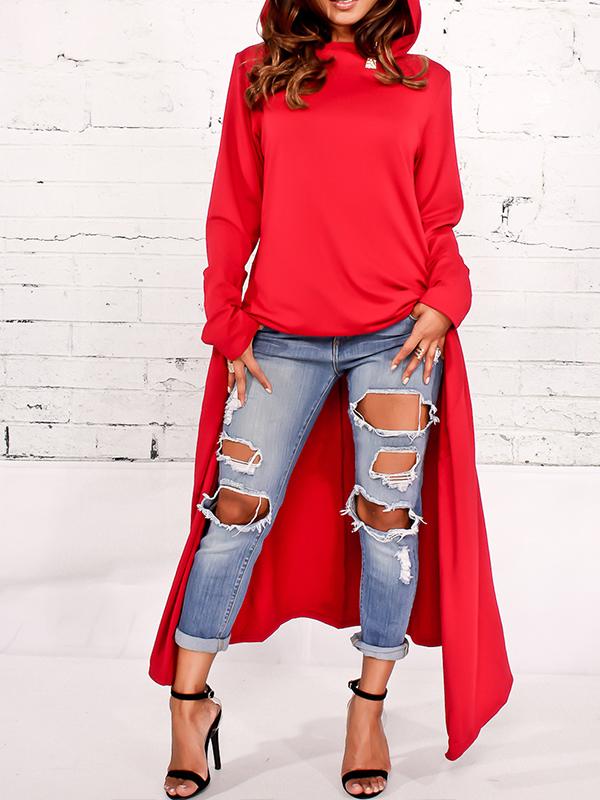 Ocio Jersey De Cuello Redondo Manga Larga De Algodón Rojo