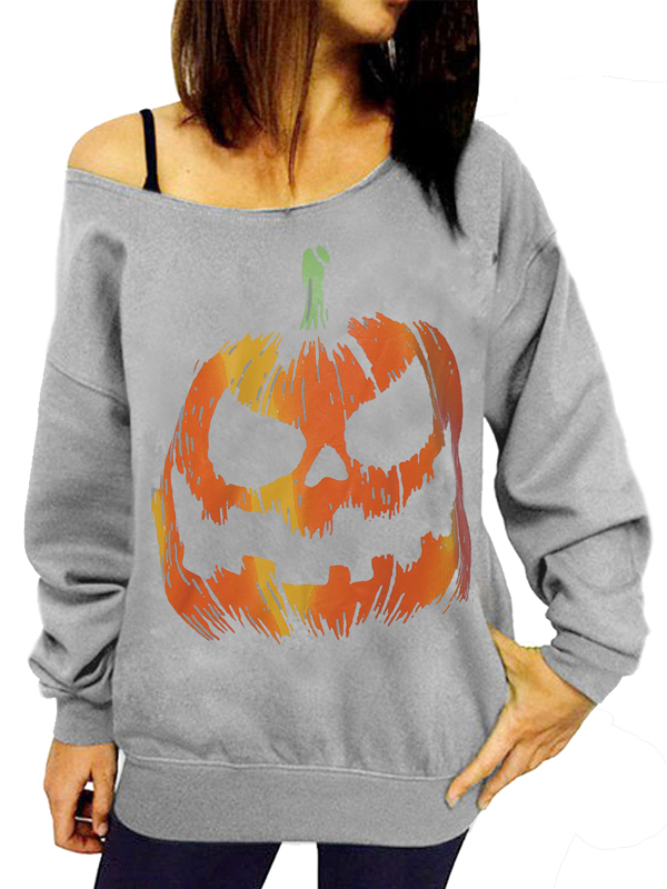 Leisure Round Neck Pumpkin Printing Grey Cotton Pullovers(Halloween)