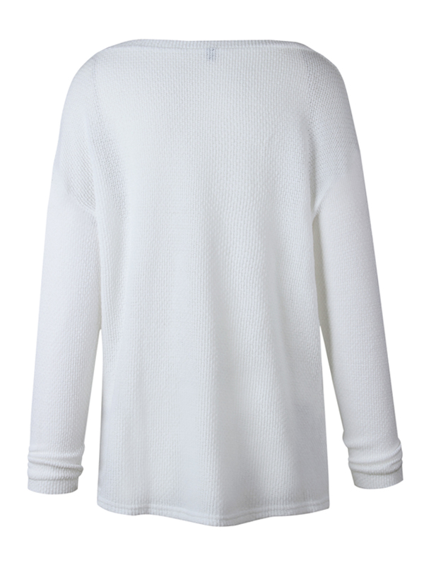 Leisure V Neck Long Sleeves White Wool Sweaters