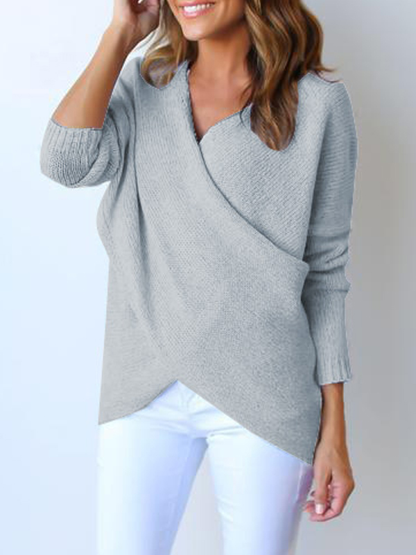Lovely Euramerican V Neck Long Sleeves Asymmetrical Grey Cotton Sweaters