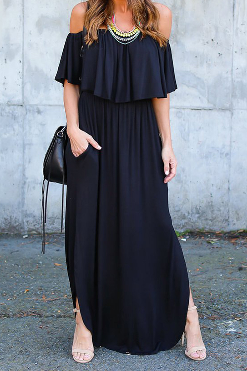 Chic Falbala Wrap Chest Maxi Dress(Without Accesso