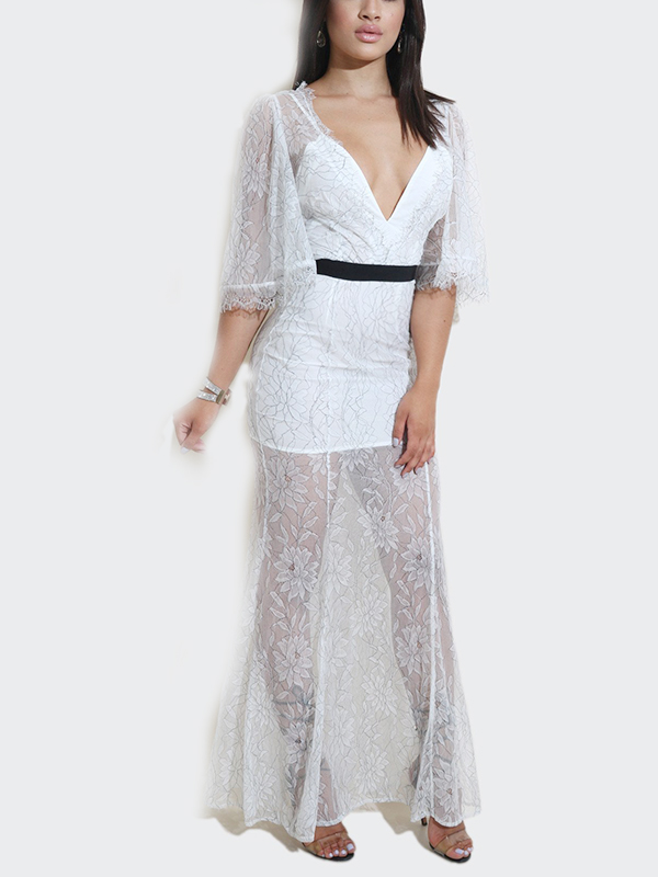 Sexy V Neck See-Through White Lace Ankle Length Dress(Without Lining)