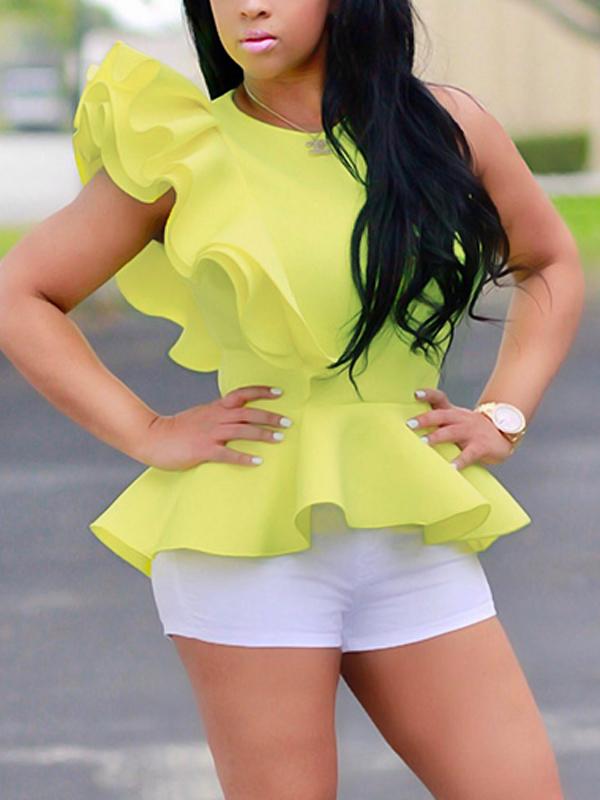 Stylish Falbala Design Yellow Polyester Shirts