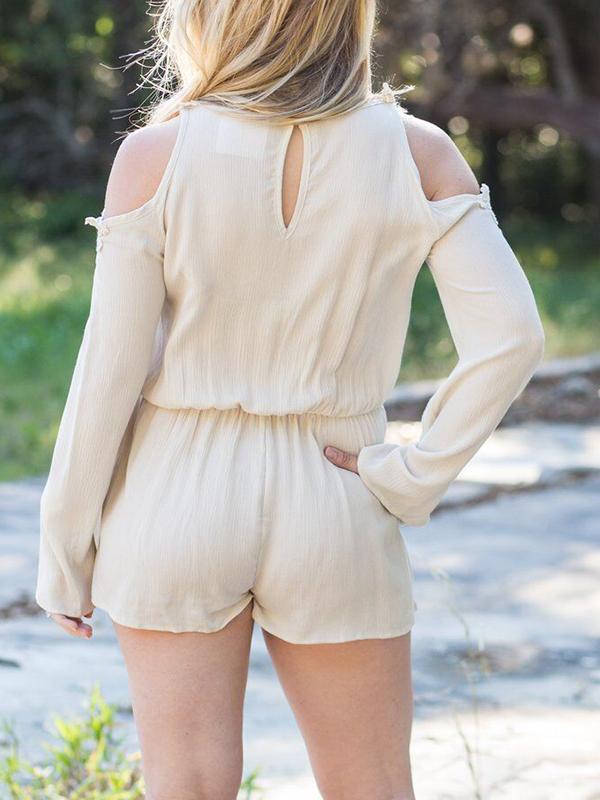 Euramerican Dew Shoulder Khaki Cotton One-piece Jumpsuits